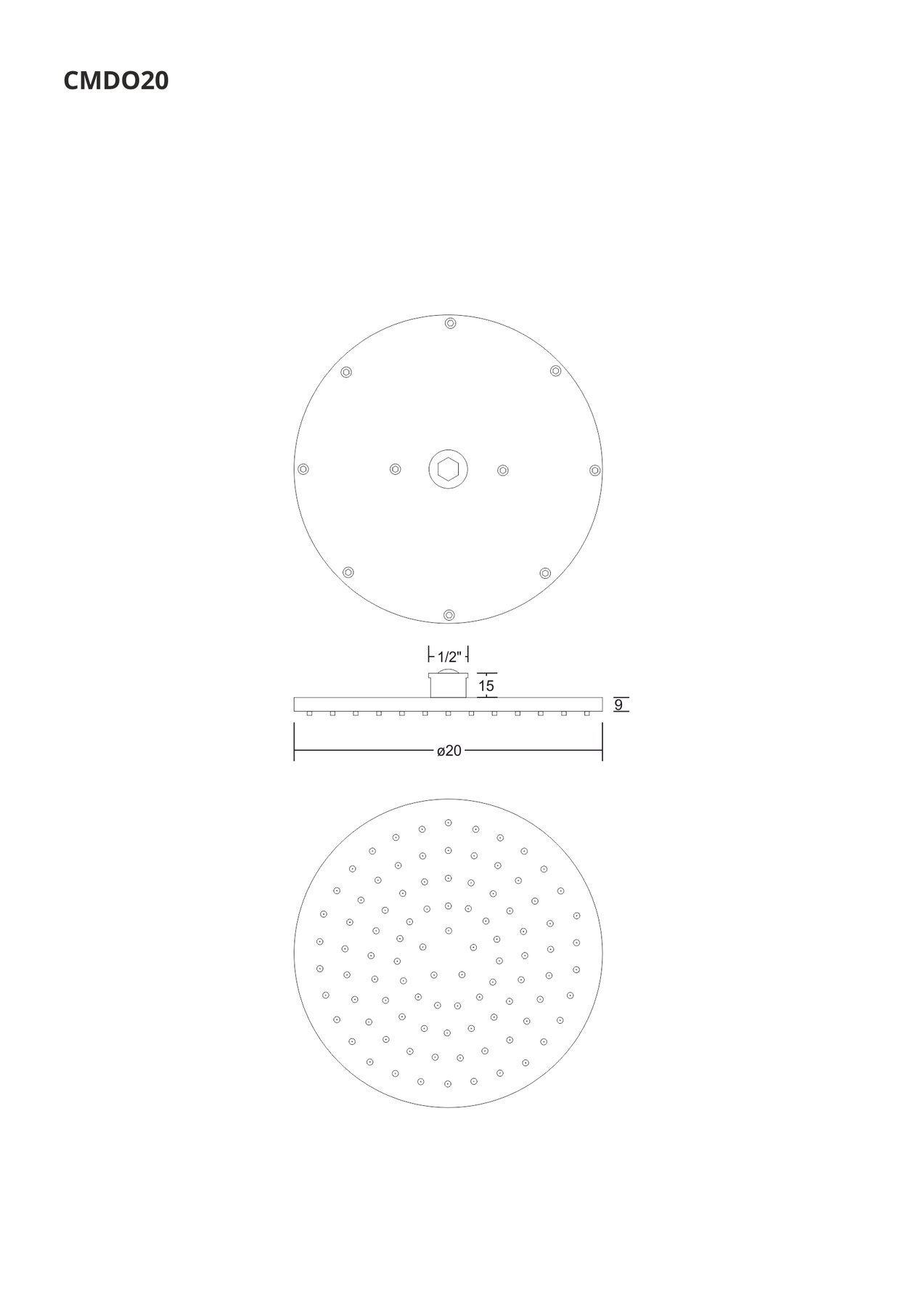 Okrúhla sprchová hlavica Corsan CMDO20 s priemerom 20 cm