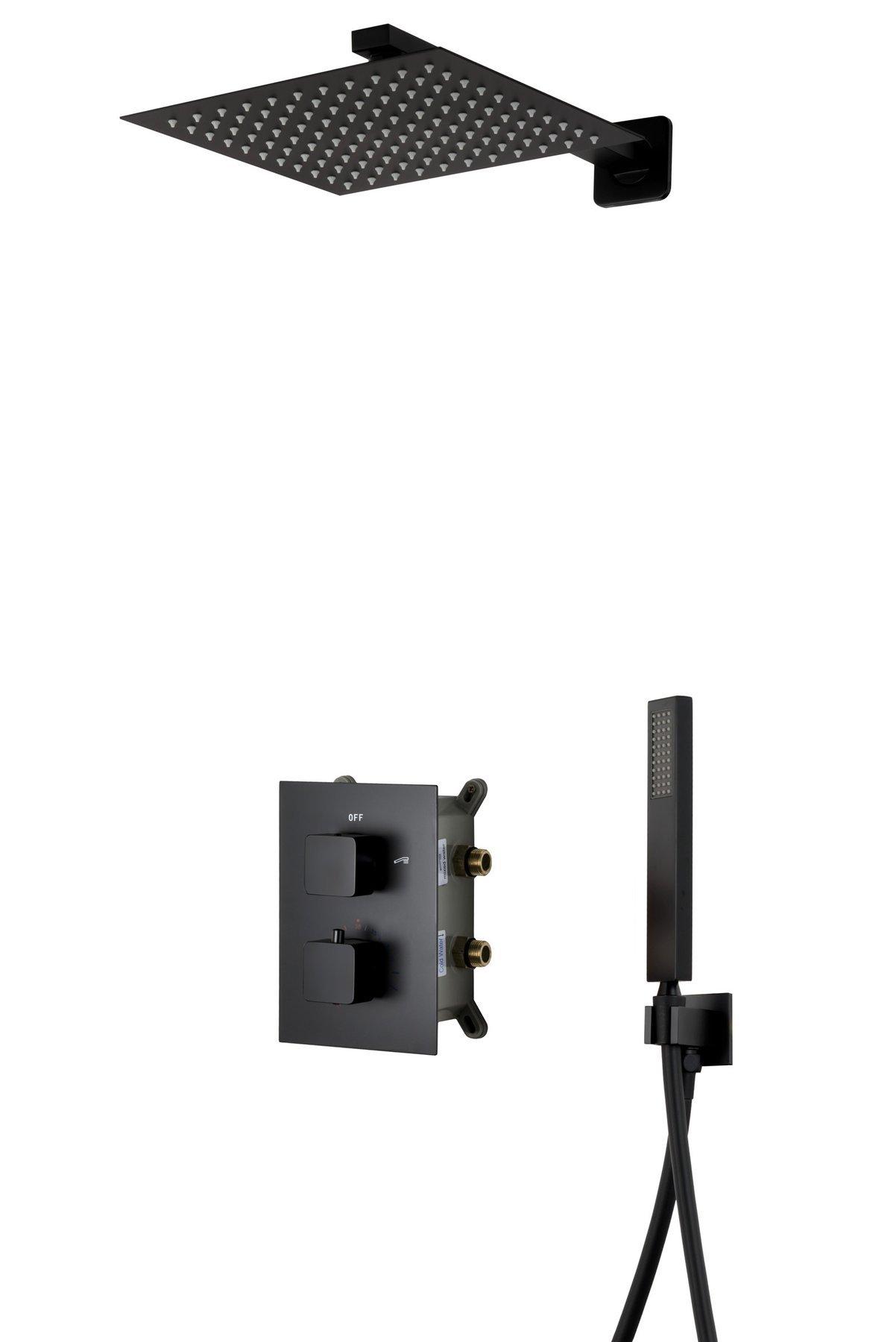 Corsan Z01TBL čierna podomietková sprchová súprava s termostatom