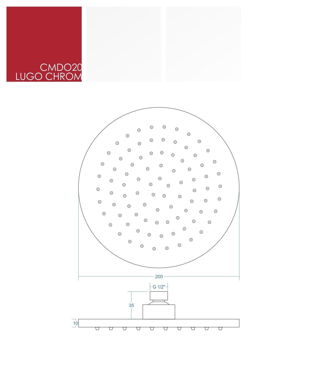 Sprchová hlavica kruhová chrómová Corsan CMDO20 LUGO, 20 cm