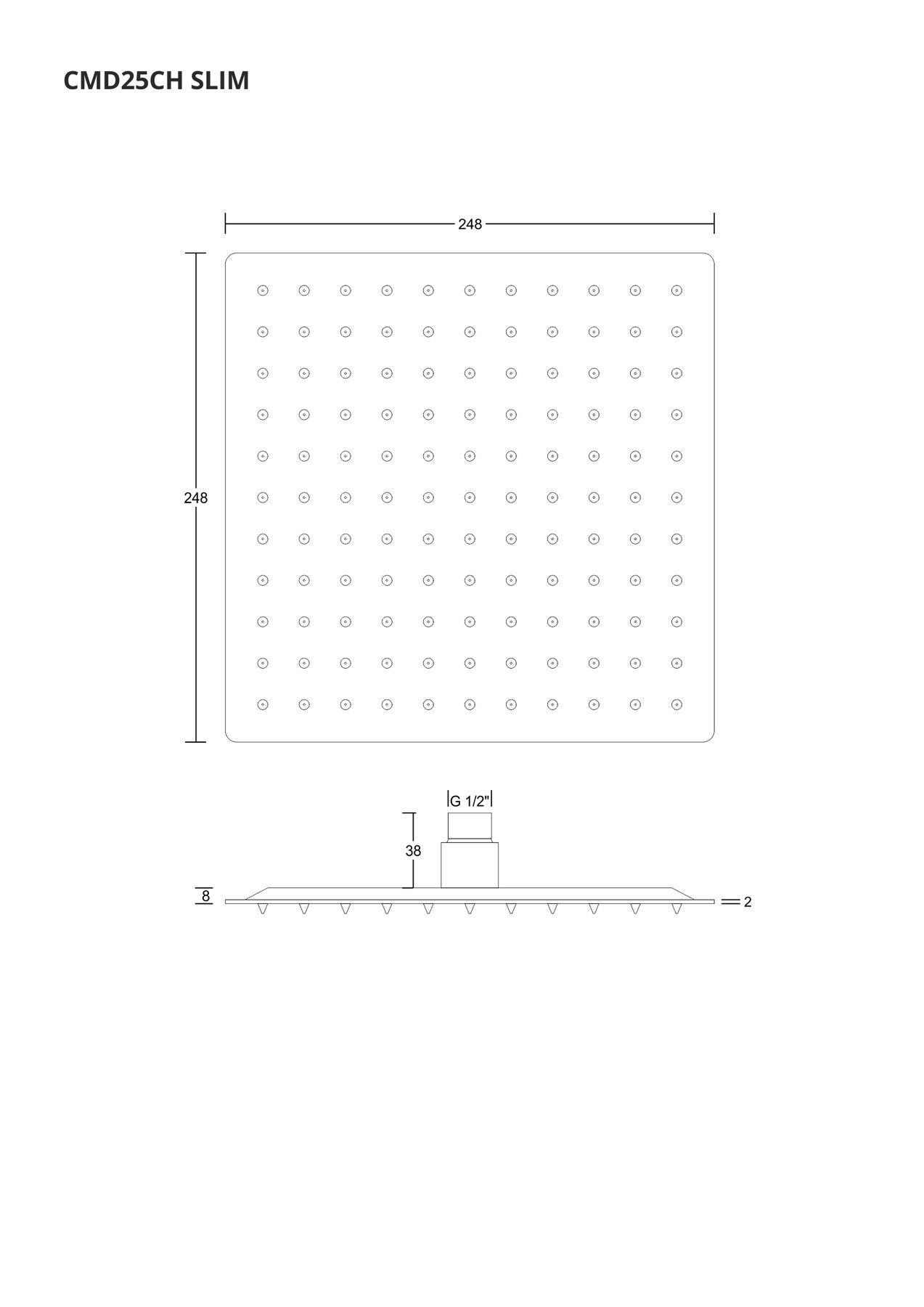 Corsan CMD25 Tenká štvorcová sprchová hlavica 25 cm