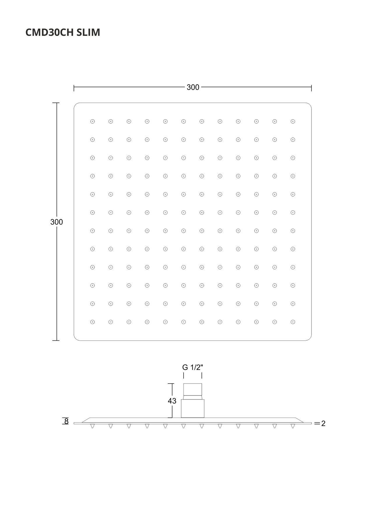 Corsan CMD30 Tenká štvorcová sprchová hlavica, 30 cm